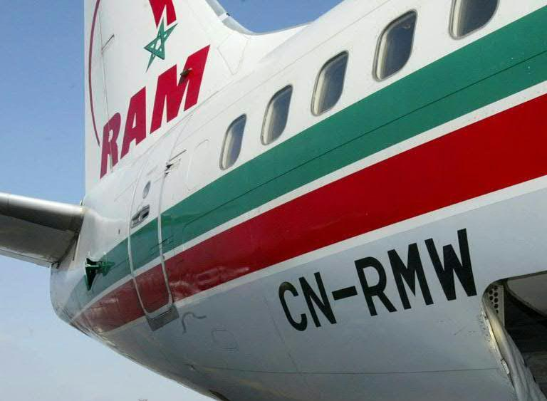 File picture shows the tailfin of a Royal Air Maroc plane after arriving in Casablanca from Bordeaux in France on June 25, 2004