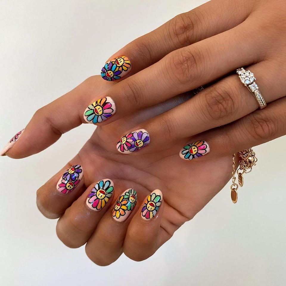 For the more adventurous (and dexterous) among us, try a mani featuring Murakami's iconic flowers.