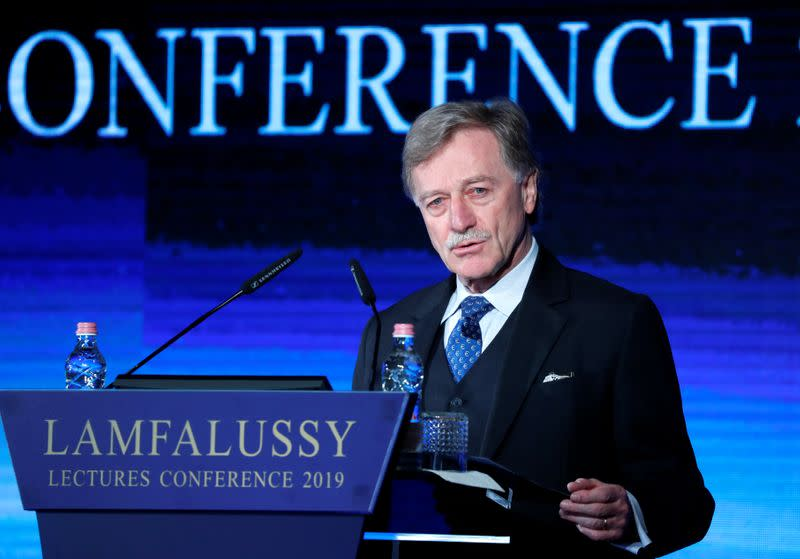 FILE PHOTO: Mersch, Member of the Executive Board of the European Central Bank delivers a speech during Lamfalussy Lectures Conference in Budapest