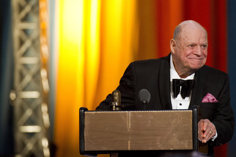 FILE - In this April 28, 2012 file photo, Don Rickles appears onstage at The 2012 Comedy Awards in New York. The Friars Club is honoring Rickles with a lifetime achievement award. The entertainers' group said Wednesday, April 17, 2013, that it will celebrate the 86-year-old comedian at its annual awards ceremony at the Waldorf Astoria Hotel in New York. (AP Photo/Charles Sykes, File)
