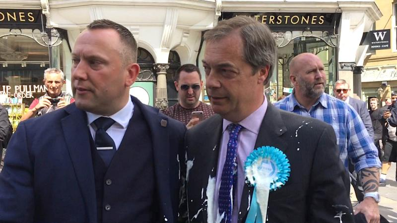 Nigel Farage was covered in milkshake in Newcastle (Picture: PA)