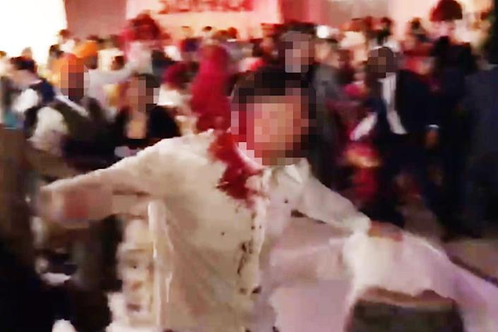 Violent:The father of the bride has rang the hotel offering to pay damages and an apology.