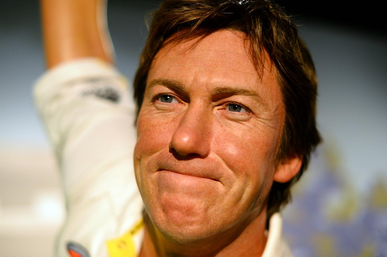 A wax figure of Australia's cricket legend Glenn McGrath is on display at Madame Tussauds in Sydney on July 31, 2013. McGrath was the winner of the Madame Tussauds Sydney Aussie votes campaign where the Australian public was asked to cast their votes on Which Australian sporting hero they wanted to see immortalised in Wax. AFP PHOTO / Saeed Khan        (Photo credit should read SAEED KHAN/AFP/Getty Images)