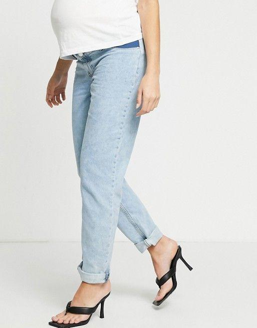 """<p><strong>Asos Maternity</strong></p><p>us.asos.com</p><p><strong>$32.00</strong></p><p><a href=""""https://go.redirectingat.com?id=74968X1596630&url=https%3A%2F%2Fwww.asos.com%2Fus%2Fasos-maternity%2Fasos-design-maternity-high-rise-original-mom-jeans-in-lightwash%2Fprd%2F20860431&sref=https%3A%2F%2Fwww.goodhousekeeping.com%2Fchildrens-products%2Fg34498315%2Fbest-maternity-jeans%2F"""" rel=""""nofollow noopener"""" target=""""_blank"""" data-ylk=""""slk:Shop Now"""" class=""""link rapid-noclick-resp"""">Shop Now</a></p><p>""""Mom jeans"""" are known for their relaxed fit and high-waist design, and they've proven themselves stylish over the past few years. These are <strong>ideal for pregnant moms that prefer looser fits over slim and skinny thanks to the slight bagginess of the legs. A</strong>nd while some tight-fitting maternity jeans have stretch in the denim, these are 100% and will feel more structured throughout. </p>"""