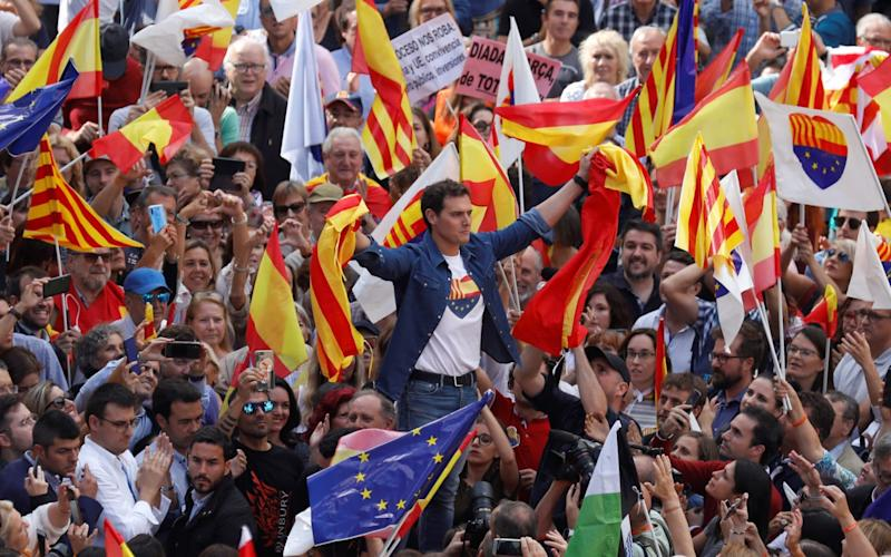 Albert Rivera led a counter-demonstration of some 2000 people after days of huge pro-independence protests in Catalonia - REUTERS