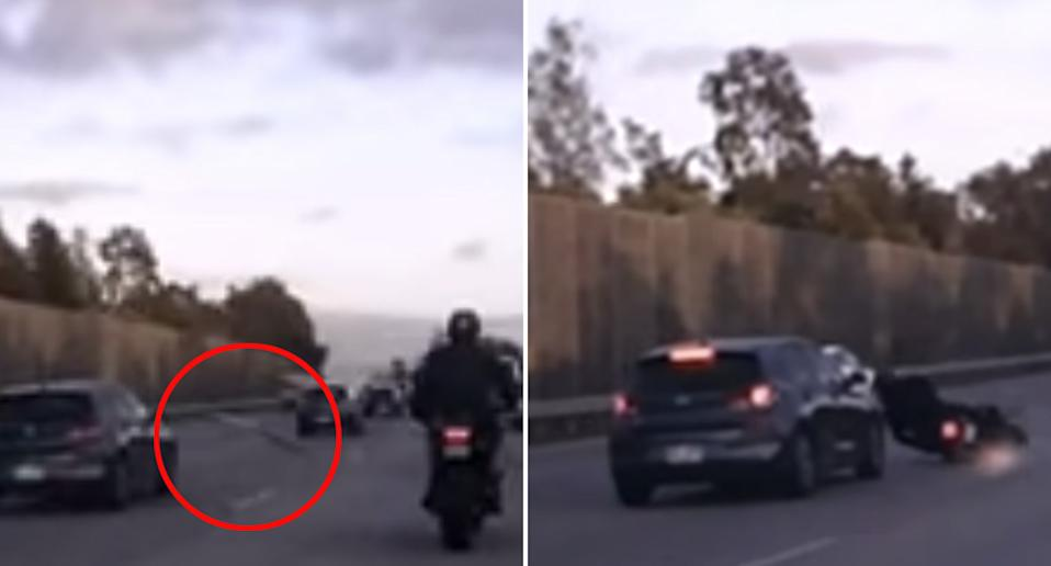 A ladder comes off a car on the M1 and takes out a motorcyclist who crashes.
