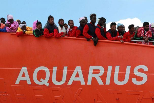 PHOTO: The Aquarius rescue ship run by NGO S.O.S. Mediterranee and Doctors without Borders arrives in the port of Salerno with 1004 migrants including 240 children rescued in the Mediterranean sea, May 26, 2017. (Carlo Hermann/AFP/Getty Images, FILE)