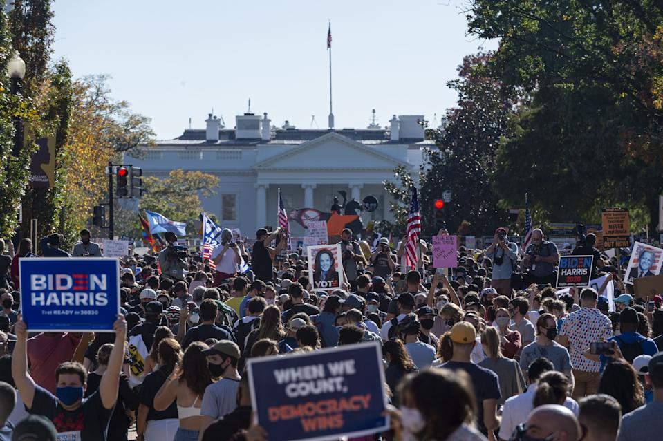 President-elect Joe Biden's supporters gather to celebrate the victory in front of the White House in Washington, United States on November 07, 2020. (Mostafa Bassim Adly/Anadolu Agency via Getty Images)