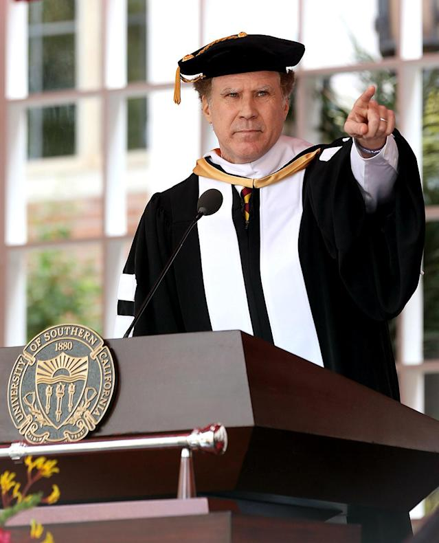 "<p>The <i>Anchorman</i> star brought the funny during <a href=""https://www.yahoo.com/celebrity/will-ferrell-roasts-united-trump-u-hilarious-usc-commencement-speech-230845689.html"" data-ylk=""slk:a speech at the University of Southern California's commencement exercises;outcm:mb_qualified_link;_E:mb_qualified_link"" class=""link rapid-noclick-resp newsroom-embed-article"">a speech at the University of Southern California's commencement exercises</a>. He also picked up an honorary doctorate from his alma mater. (Photo: Splash News) </p>"