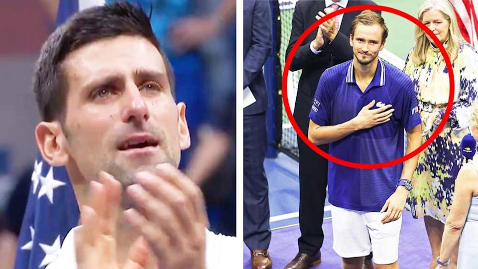 Daniil Medvedev (pictured right) thanking the crowd in his post-match speech and (pictured left) Novak Djokovic applauding in tears after losing the US Open final.