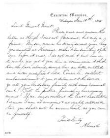 A letter from Lincoln to Grant requesting a safe post for his son. Click here for high-resolution version