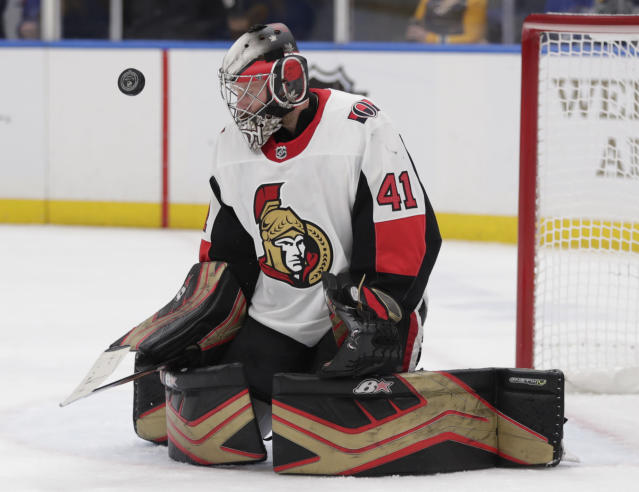Ottawa Senators goaltender Craig Anderson makes a save during the second period of the team's NHL hockey game against the St. Louis Blues, Saturday, Jan. 19, 2019, in St. Louis. (AP Photo/Tom Gannam)