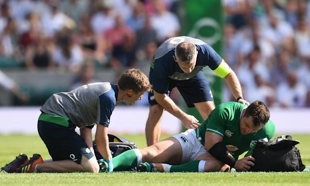 "<span class=""element-image__caption"">Cian Healy was forced off with an ankle injury at Twickenham.</span> <span class=""element-image__credit"">Photograph: David Ramos/Getty Images</span>"