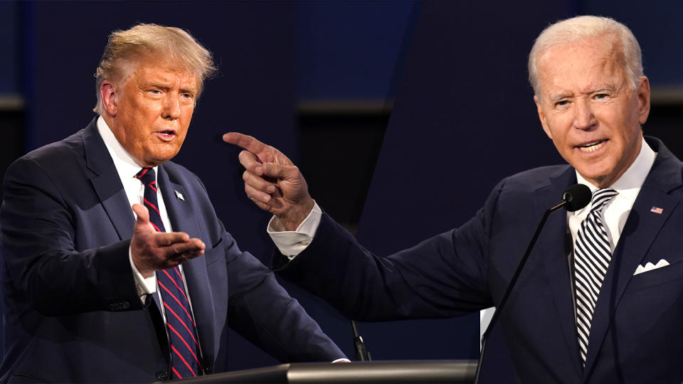 President Donald Trump and Joe Biden during their first Presidential Debate in Ohio on Sept. 29, 2020.  (photos: Patrick Semansky/AP)