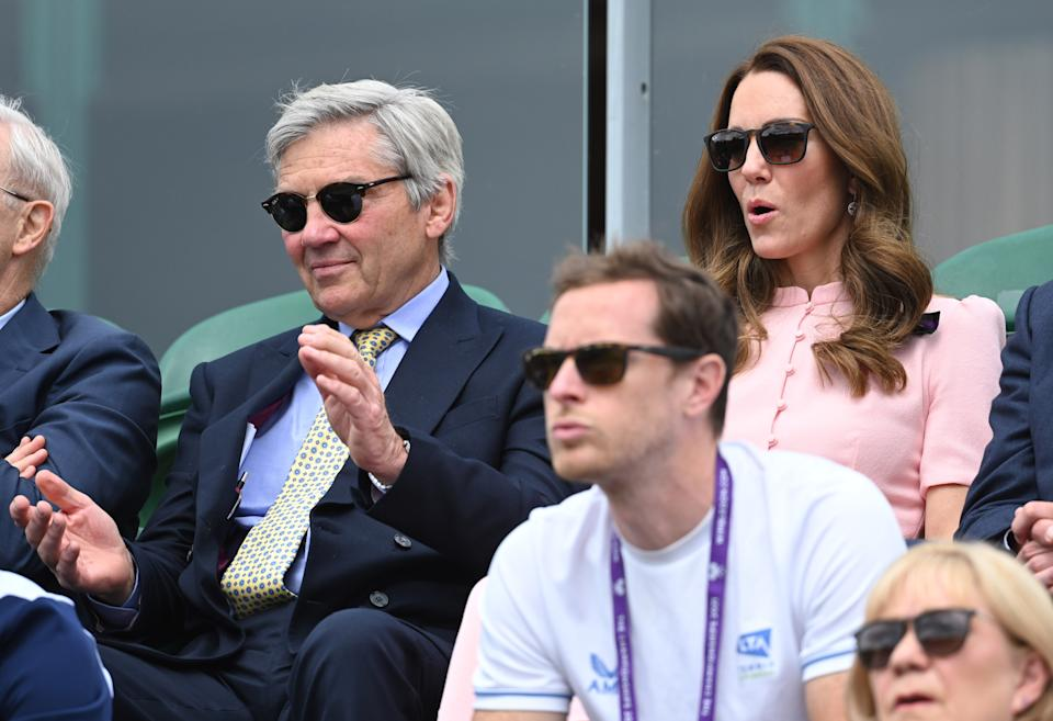 LONDON, ENGLAND - JULY 11: Michael Middleton and Catherine, Duchess of Cambridge attend day 13 of the Wimbledon Tennis Championships at All England Lawn Tennis and Croquet Club on July 11, 2021 in London, England. (Photo by Karwai Tang/WireImage)