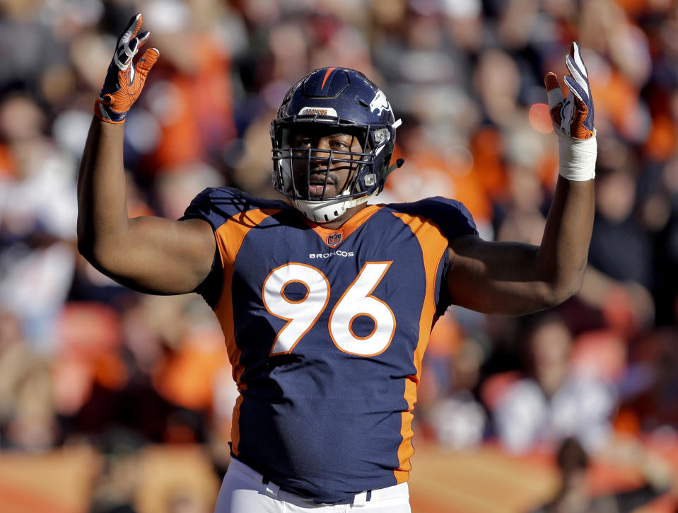 Denver Broncos defensive end Shelby Harris (96) signed a one-year deal this offseason. (AP Photo/Jack Dempsey)