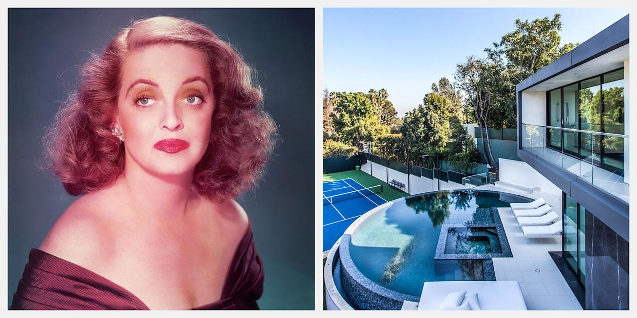 """<p>The historic Hanover House mansion, once owned by actress <a href=""""https://www.townandcountrymag.com/leisure/arts-and-culture/a9676/bette-davis-joan-crawford-feud/"""" target=""""_blank"""">Bette Davis</a>, is now on the market for $40 million. </p><p>Located in the heart of Beverly Hills, the """"made to measure"""" villa was recently transformed—from the inside out—by <a href=""""https://www.visionnaire-home.com/"""" target=""""_blank"""">Visionnaire</a>, a top-of-the-range interior design firm known for their distinctive and ultra-bespoke projects. """"The house was completely taken to pieces and renovated,"""" says Visionnaire's art director Eleonore Cavalli. At nearly 10,000 square feet, the architecturally striking space boasts panoramic views and a modern design concept, complete with two pools, a movie theater, a full bar, and a full-sized tennis court. Modern sliding glass doors unite the home's indoor and outdoor spaces, with views to the pools and beyond. The newly-renovated interiors are classically modern, with an incredible attention to detail that can be found in every corner. </p><p>Westside Estate Agency holds the listing, which can be found <a href=""""http://www.weahomes.com/listing/1029-hanover-dr/"""" target=""""_blank"""">here</a>.<a href=""""https://www.elliman.com/california/1029-hanover-drive-beverly-hills-ibdevsx"""" target=""""_blank""""></a>. Tour the glamorous mansion below. </p>"""