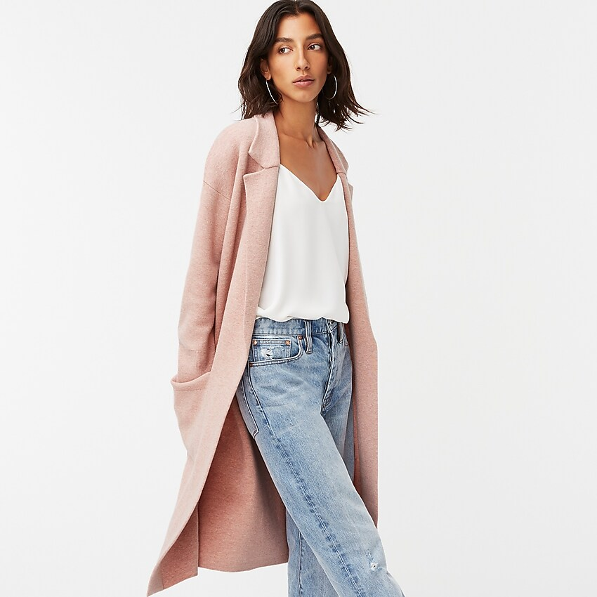 "<br><br><strong>J.Crew</strong> Open Front Sweater Blazer, $, available at <a href=""https://go.skimresources.com/?id=30283X879131&url=https%3A%2F%2Fwww.jcrew.com%2Fus%2Fp%2Fwomens_category%2Fcoats_and_jackets%2Ftopcoat%2Fella-openfront-long-sweaterblazer%2FAD753"" rel=""nofollow noopener"" target=""_blank"" data-ylk=""slk:J.Crew"" class=""link rapid-noclick-resp"">J.Crew</a>"