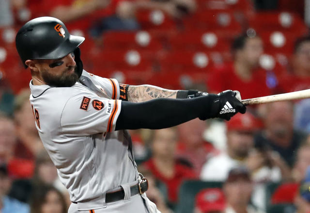 FILE - In this Sept. 4, 2019, file photo, San Francisco Giants' Kevin Pillar follows through on a two-run home run during the eighth inning of the team's baseball game against the St. Louis Cardinals in St. Louis. The Giants allowed Pillar to become a free agent by failing to offer the outfielder a 2020 contract. Acquired from Toronto on April 2, Pillar hit .264 for San Francisco with 21 home runs and 87 RBIs. (AP Photo/Jeff Roberson, File)