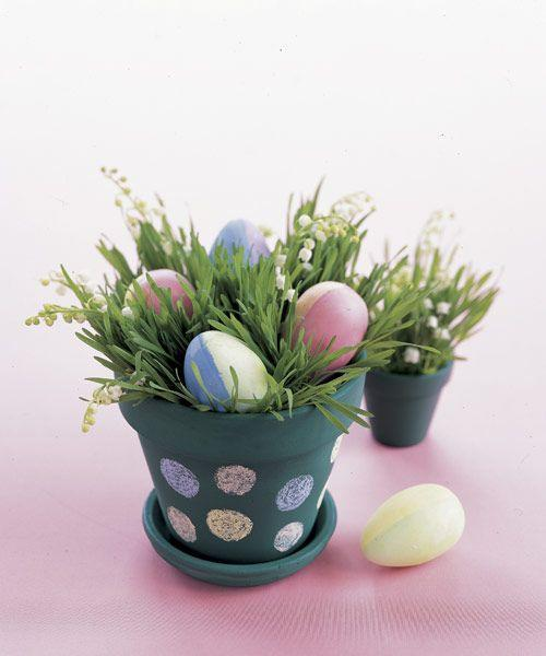 """<p>Coat a terra-cotta pot with chalkboard paint. Let dry overnight. Then, ask your kids to help decorate by randomly drawing polka dots using different-colored sidewalk chalk. Finally, fill the pot with wheatgrass or cat grass seeds and allow seven to 10 days to grow. Remember to add lilies and eggs. </p><p><a class=""""link rapid-noclick-resp"""" href=""""https://www.amazon.com/Chalkboard-Paint-kit-Surfaces-Furniture/dp/B01ND443DV?tag=syn-yahoo-20&ascsubtag=%5Bartid%7C10055.g.2217%5Bsrc%7Cyahoo-us"""" rel=""""nofollow noopener"""" target=""""_blank"""" data-ylk=""""slk:BUY CHALKBOARD PAINT"""">BUY CHALKBOARD PAINT</a></p>"""