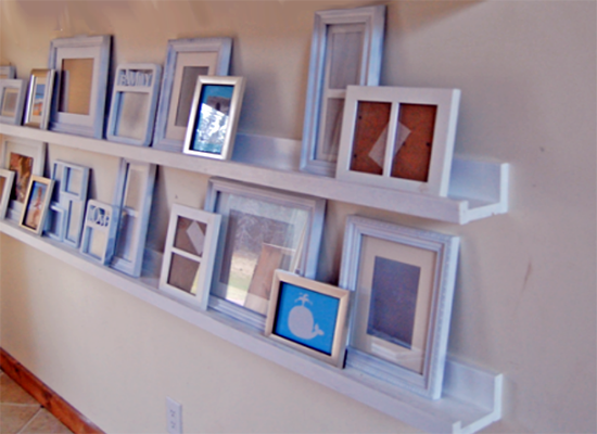 """<p>Install simple photo ledges to display an ever-rotating array of children's artwork. The lumber for an 8"""" ledge like this one costs about ten bucks, and it's a simple project, suitable even for <a href=""""http://www.bobvila.com/point-the-way/46626-10-surprisingly-simple-woodworking-projects-for-beginners/slideshows"""" rel=""""nofollow noopener"""" target=""""_blank"""" data-ylk=""""slk:beginning woodworkers"""" class=""""link rapid-noclick-resp"""">beginning woodworkers</a>. <i>Photo: ana-white.com</i></p>"""