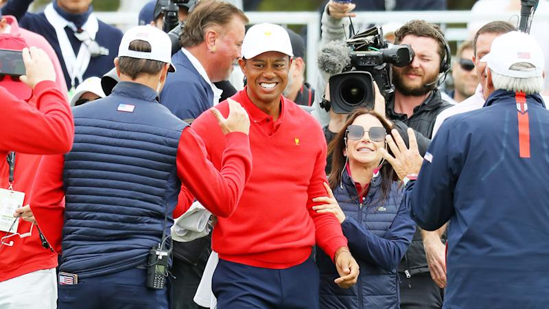 Seen here, Tiger Woods celebrates his win for USA in Sunday's Presidents Cup singles.