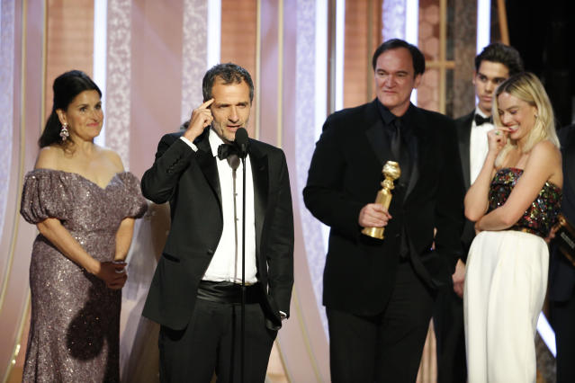 "David Heyman accepts the award for BEST MOTION PICTURE – MUSICAL OR COMEDY for ""Once Upon a Time...in Hollywood"" onstage. (Photo by Paul Drinkwater/NBCUniversal Media, LLC via Getty Images)"