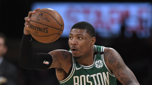 "<a class=""link rapid-noclick-resp"" href=""/nba/players/5317/"" data-ylk=""slk:Marcus Smart"">Marcus Smart</a> is expected to miss two weeks with a right hand laceration. (AP)"