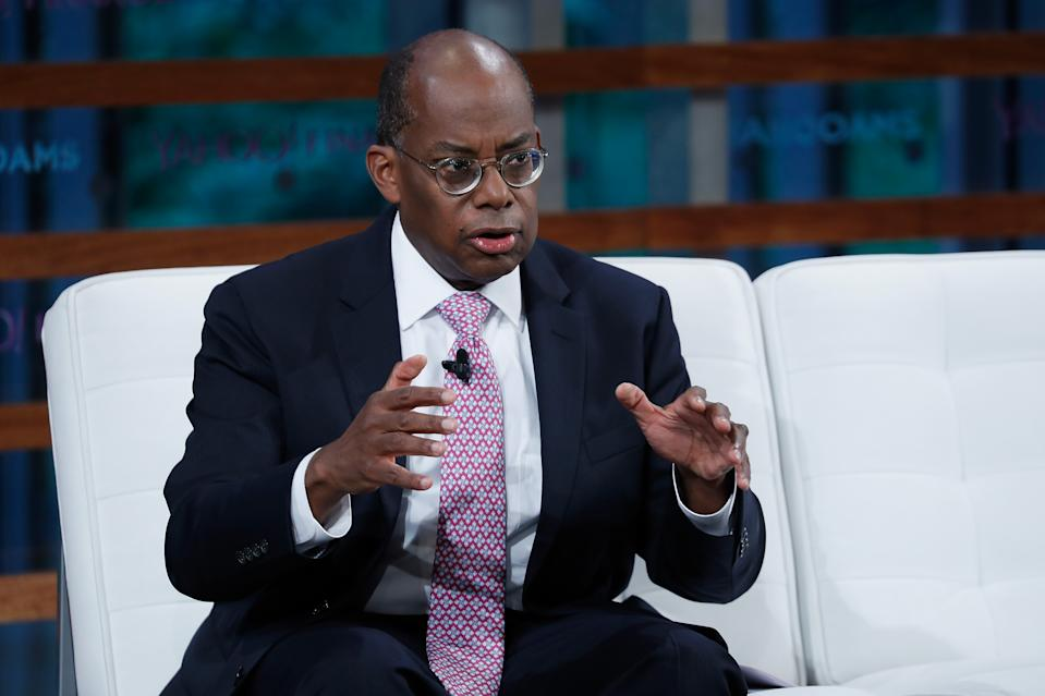 NEW YORK, NY - SEPTEMBER 20: TIAA CEO Roger Ferguson Jr. speaks during the 2018 Yahoo Finance All Markets Summit at The Times Center on September 20, 2018 in New York City. (Photo by John Lamparski/Getty Images)