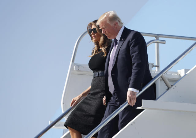 <p>President Donald Trump and first lady Melania Trump arrive to meet with officials and first responders in the wake of the mass shooting in Las Vegas, Nev., Oct. 4, 2017. (Photo: Kevin Lamarque/Reuters) </p>