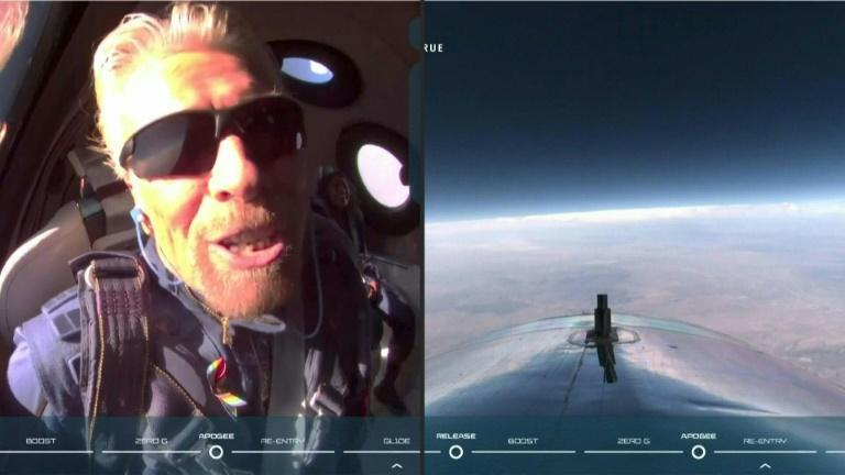 """British billionaire Richard Branson calls his trip to the edge of space the """"experience of a lifetime"""""""