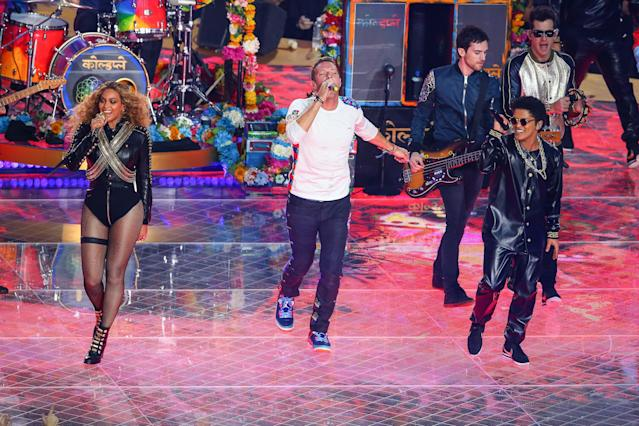 2016: Beyoncé, Coldplay and Bruno Mars. (Photo by Icon Sports Wire/Corbis/Icon Sportswire via Getty Images)