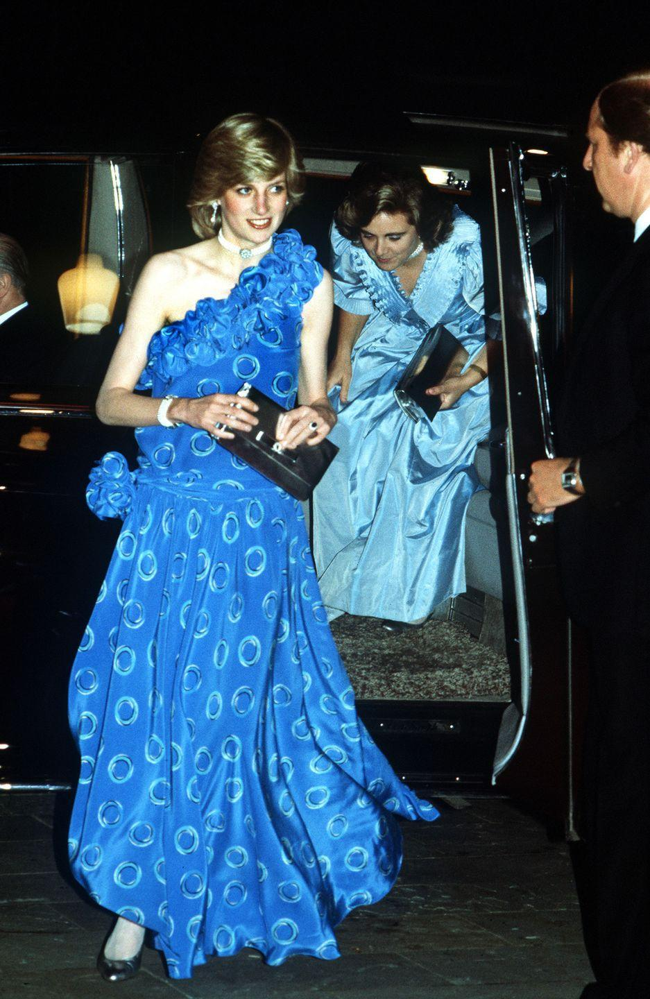 <p>In a blue dress by Bruce Oldfield while arriving to the Guildhall in London to see a fashion show. </p>
