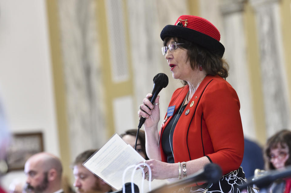 Rep. Lola Sheldon-Galloway, R-Great Falls, speaks on the house floor of the State Capitol in Helena, Mont. on Monday, Jan. 25, 2021. (Thom Bridge/Independent Record via AP)