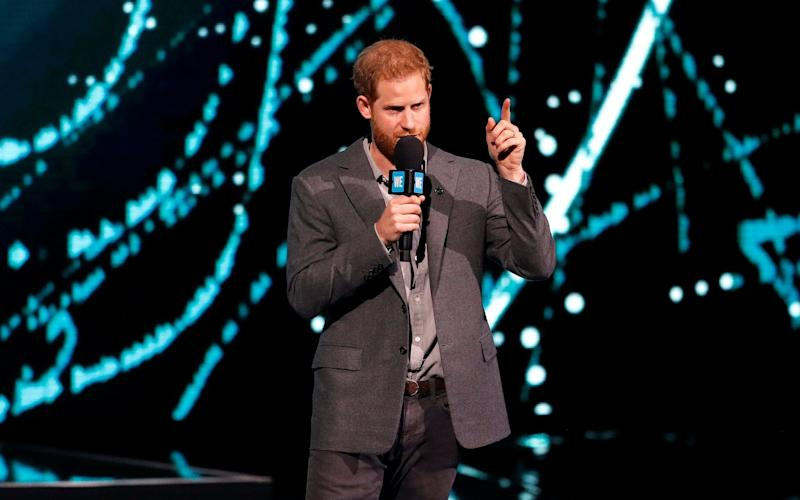 Prince Harry addresses young people at a WE Day event at Wembley - REUTERS