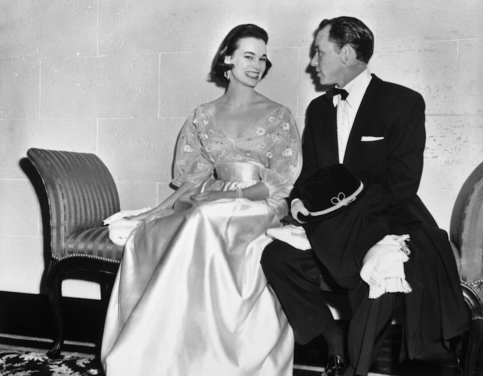 <p>Vanderbilt with Frank Sinatra at the Ambassador Hotel on New Years Eve, one of her reported lovers.</p>