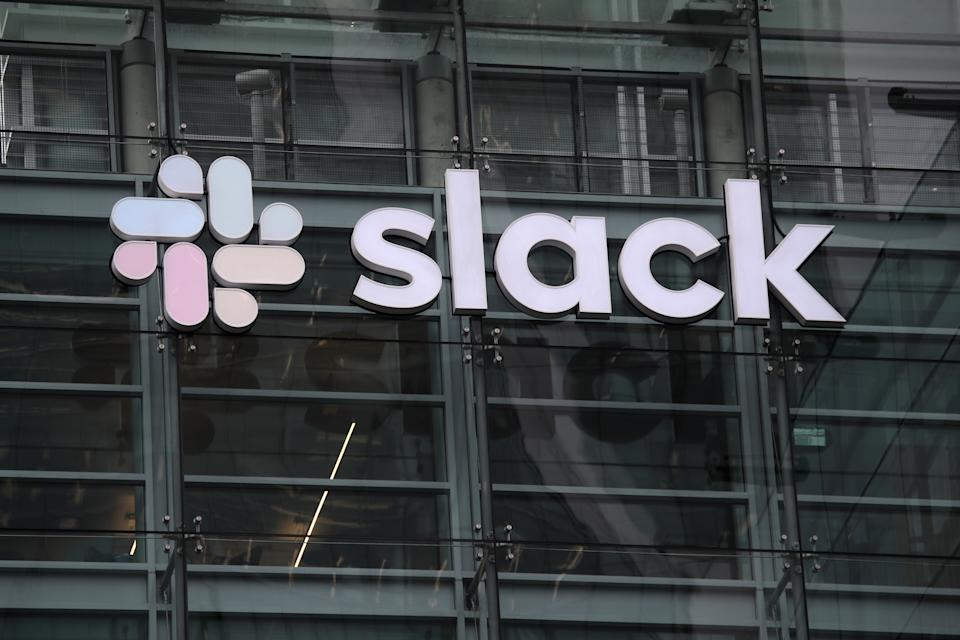SAN FRANCISCO, CALIFORNIA - APRIL 02: A view of Slack headquarters on April 02, 2019 in San Francisco, California. Workplace messaging company Slack Technologies Inc. announced plans to list its shares on the New York Stock Exchange.  (Photo by Justin Sullivan/Getty Images)