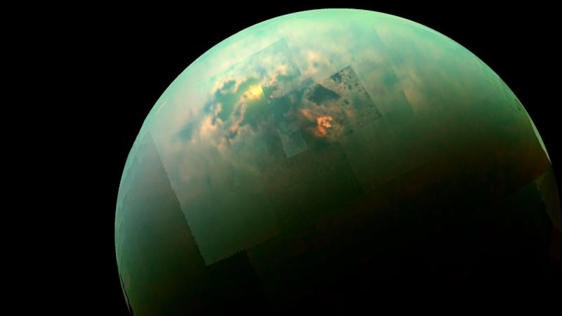Cassini spacecraft catches a glimpse of bright sunlight reflecting off the hydrocarbon seas of Saturn's large moon Titan. Image: NASA
