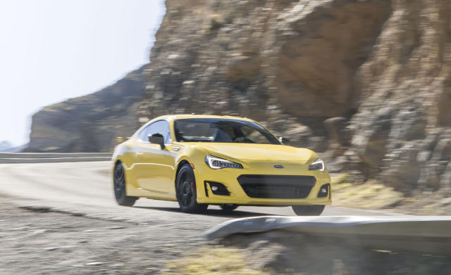 <p><strong>Subaru BRZ</strong><br><strong>Price as tested:</strong> $27,1117<br><strong>Highlights:</strong> Responsive handling, first rear-wheel drive sportscar from Subaru.<br><strong>Lowlights:</strong> Slightly jittery ride, relatively plain cabin, elevated noise level.<br>(Car and Driver) </p>