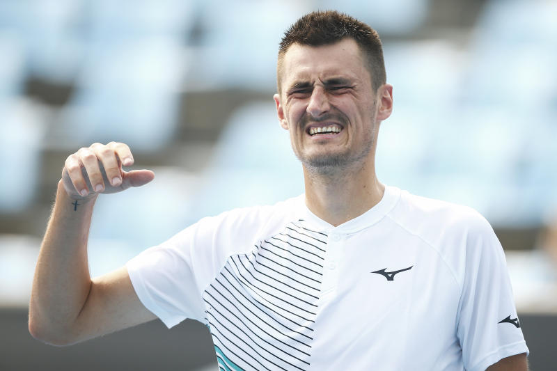 MELBOURNE, AUSTRALIA - JANUARY 14: Bernard Tomic of Australia reacts in his match against Denis Kudla of the USA during 2020 Australian Open Qualifying at Melbourne Park on January 14, 2020 in Melbourne, Australia. (Photo by Daniel Pockett/Getty Images)