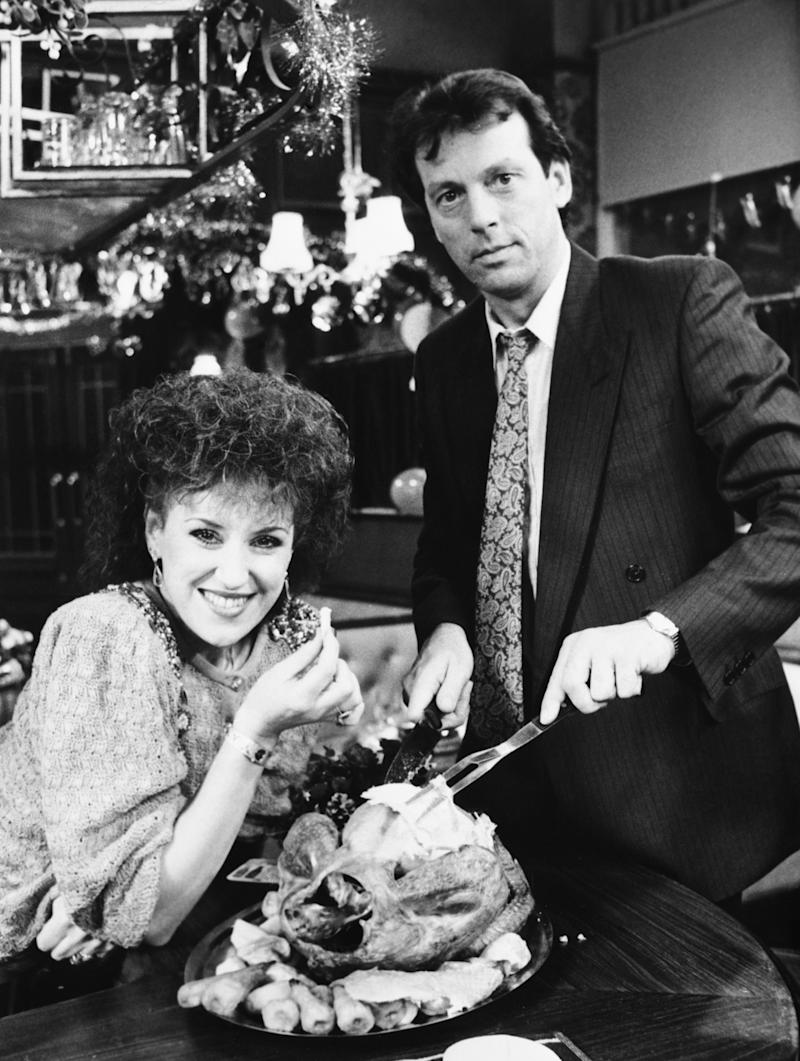 Leslie Grantham as Den Watts and Anita Dobson as Angie promote the Christmas episodes of EastEnders.