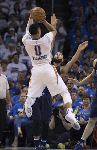 6a3ec7f2e4aac Russell Westbrook and the Thunder crushed the Mavs. (J Pat Carter Getty  Images