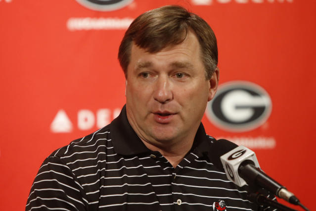Georgia coach Kirby Smart speaks with the media during an NCAA college football news conference Tuesday, March 20, 2018, in Athens, Ga. Georgia opens spring practice today. (Joshua L. Jones/Athens Banner-Herald via AP)