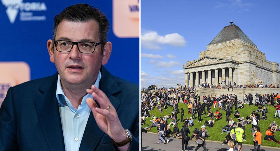 Pictured is Victorian Premier Daniel Andrews on the left and a crowd of people at the Shrine of Remembrance