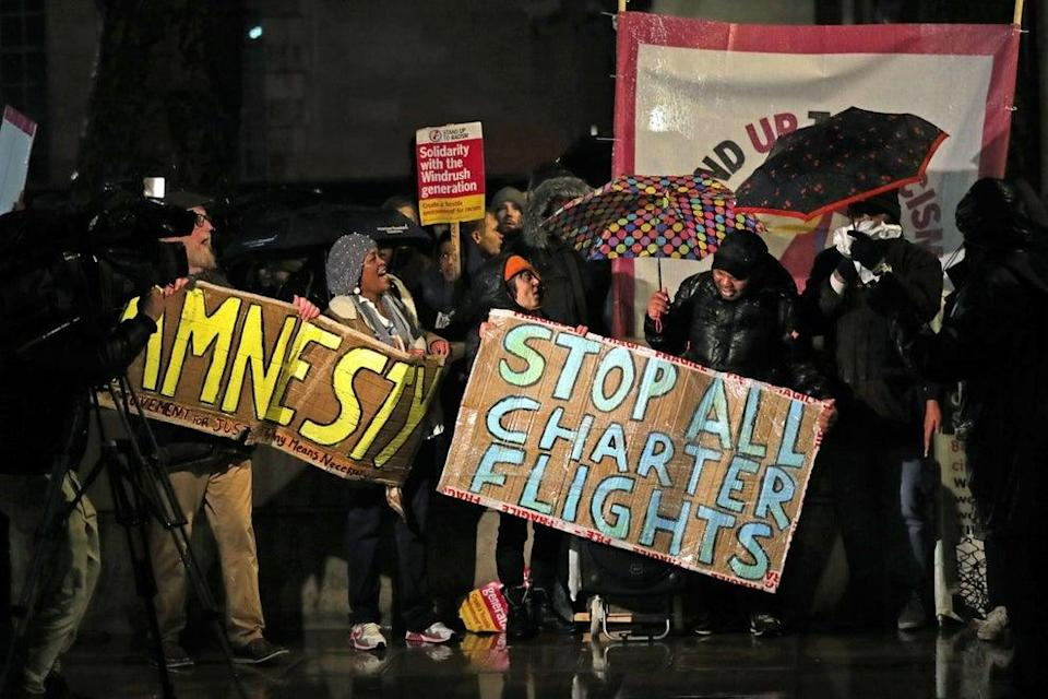 <p>Campaigners have been protesting to stop the deportation of 50 men to Jamaica</p> (Getty Images)
