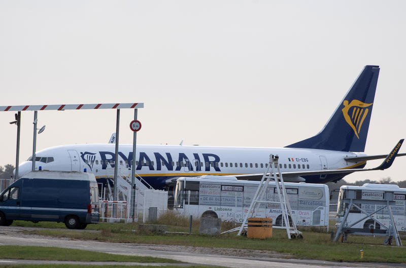 "A Ryanair plane sits on the tarmac at the Bordeaux-Merignac airport in southwestern France, after being impounded by French authorities, Friday, Nov. 9, 2018. Storms, strikes, computer failures _ you can now add ""your plane has been seized by the government"" to the list of things that can delay your flight. (AP Photo)"