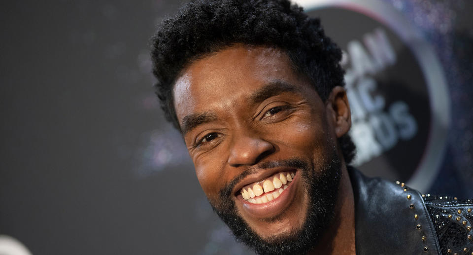 """Actor <a href=""""https://uk.news.yahoo.com/black-panther-star-chadwick-boseman-024641931.html"""" data-ylk=""""slk:Chadwick Boseman's death;outcm:mb_qualified_link;_E:mb_qualified_link;ct:story;"""" class=""""link rapid-noclick-resp yahoo-link"""">Chadwick Boseman's death</a> rocked the entertainment world as he had opted to keep his 2016 colon cancer diagnosis private. His death at 43 prompted an outpouring of tributes as he was remembered for his legacy in portraying the Black Panther, one of the first prominent Black superheroes in a blockbuster movie. (Photo by Valerie Macon/AFP via Getty Images)"""