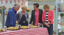 """Mary caused a bit of stir when she rocked an Hermes logo belt on a 2015 episode of """"The Great British Bake Off"""". [Photo: Rex]"""