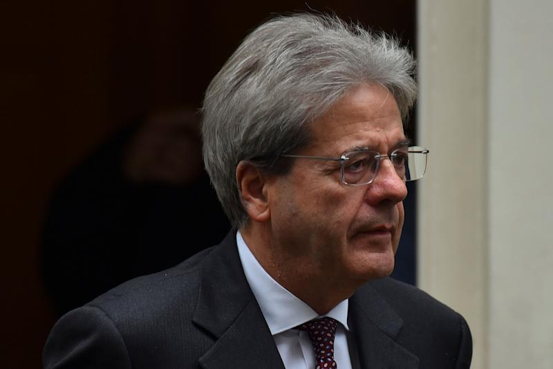 Italy's former Prime Minister, Paolo Gentiloni arrives in Downing Street in central London on March 6, 2019. (Photo by Alberto Pezzali/NurPhoto via Getty Images)