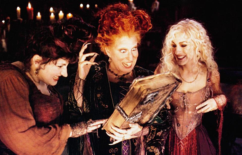 <ul> <li><b>What to wear for Winifred:</b> Long green robes, big red hair, and lipstick on the center of your upper and lower lips. Carry a broom.</li> <li><b>What to wear for Mary:</b> A red dress and robe, crazy-big hair, and a crooked smile. Carry a vacuum cleaner.</li> <li><b>What to wear for Sarah:</b> A low-cut dress and purple robe, long and teased blonde hair, and a choker. Carry a mop.</li> <li><b>How to act:</b> Evil, sadistic, and a bit ditzy (if you're Sarah). Do lots of cackling and sneering at children.</li> </ul>